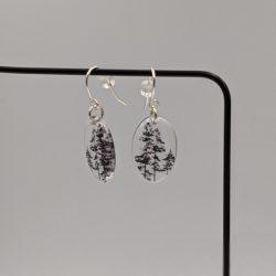 zilveren oorbellen, klein, boom